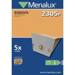 Menalux 2305 P - Sacchetti di carta per aspirapolvere Rowenta, confezione da 5